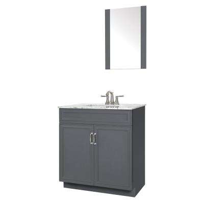 Colette 30 in. W x 19 in. D Bath Vanity in Gray with Engineered Stone Vanity Top in Gray with White Basin and Mirror
