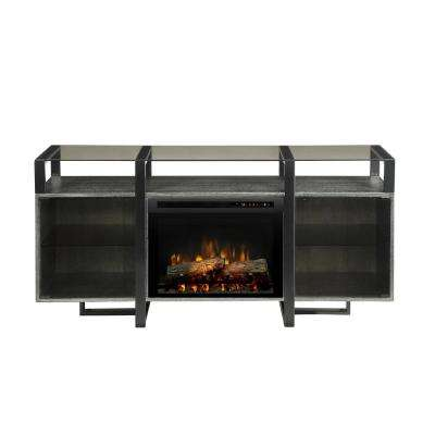 Milo 67 in. Freestanding Electric Fireplace TV Stand Media Console in Rift Chrome