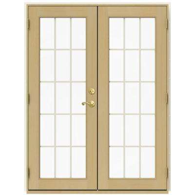 59.5 in. x 79.5 in. W-2500 French Vanilla Right-Hand Inswing French Wood Patio Door