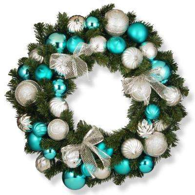 30 in. Silver and Blue Ornament Artificial Wreath