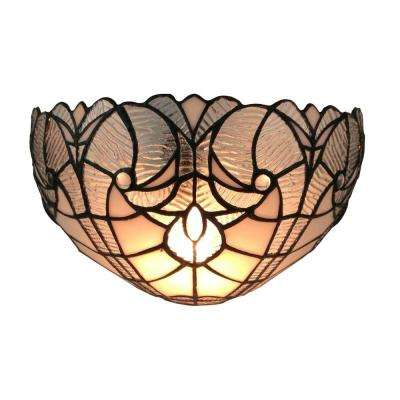 1-Light White Tiffany Style Floral Sconce