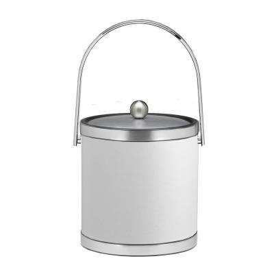 Sophisticates 3 Qt. White and Brushed Chrome Ice Bucket with Track Handle and Metal Cover