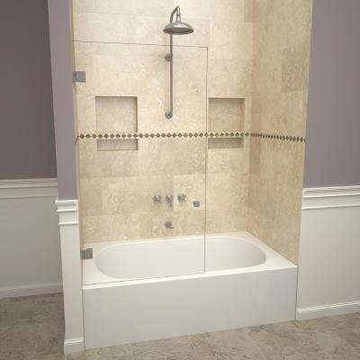 2300V Series 78 in. W x 60 in. H Frameless Pivot Tub Door in Brushed Nickel with Back-to-Back Knob and Clear Glass