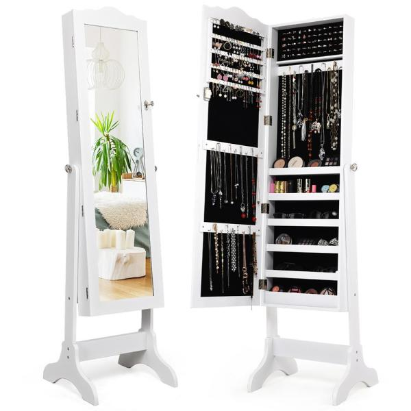 Costway White With Stand Mirrored, Jewelry Mirrored Armoire