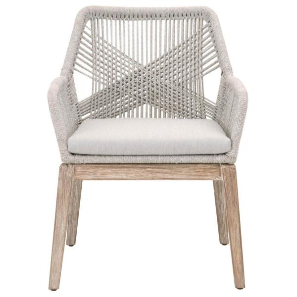 Orient Express Furniture Loom Taupe And White Flat Rope, Natural Gray  Mahogany Dining Arm Chair