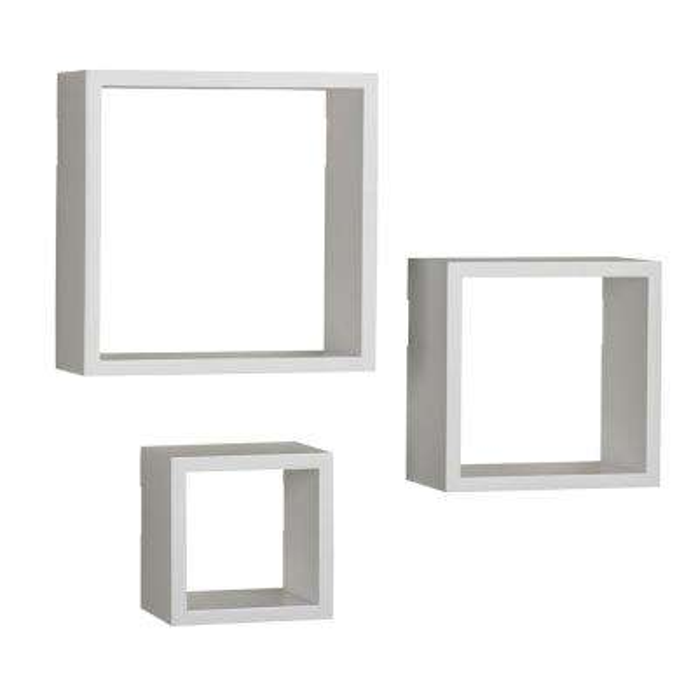 9 in. x 9 in., 7 in. x 7 in., 5 in. x 5 in., Square Wood Shelves in White (Set of 3)