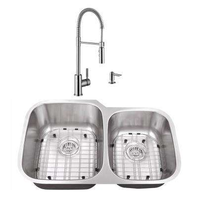 Undermount Stainless Steel 32 in. 60/40 Double Bowl Kitchen Sink with Brushed Nickel Faucet