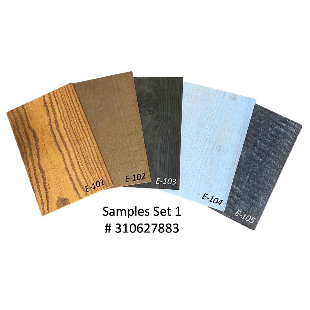 Easy Planking Thermo-treated Samples (SAM1) 1/4 in. x 5 in. x 0.7 ft. Mixed-Color Barn Wood Wall Planks (1.5 Sq. ft. per 5-Pack)