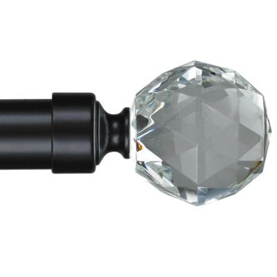 4 ft. Non-Telescoping 1-1/8 in. Single Curtain Rod with Rings in Black with Gemstone Finial