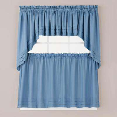 Semi-Opaque Holden 36 in. L Polyester Tier Curtain in Smoke (2-Pack)