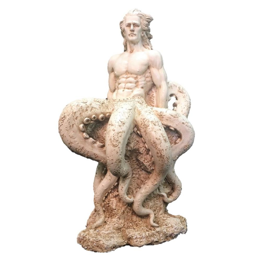 21 in. Antique White Octoman Male Mermaid Sitting on Coastal Rock