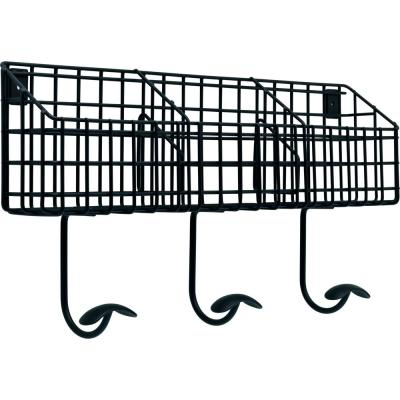 17.75 in. Flat Black Industrial Basket Hook Rail