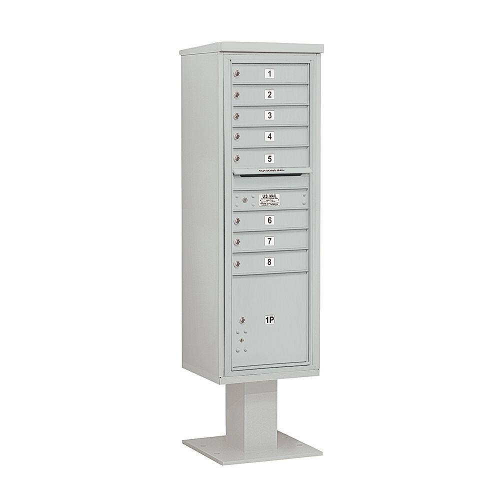 Salsbury Industries 3400 Series 70-1/4 in. 15 Door High Unit Gray 4C Pedestal Mailbox with 8 MB1 Doors/1 PL5