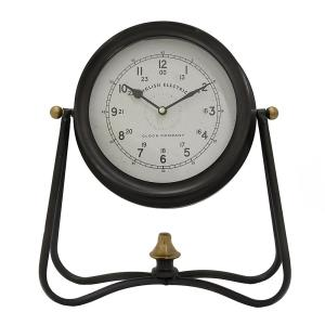 THREE HANDS 12 inch x 5.5 inch Metal Table Clock in Black by THREE HANDS