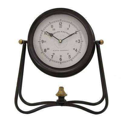 12 in. x 5.5 in. Metal Table Clock in Black