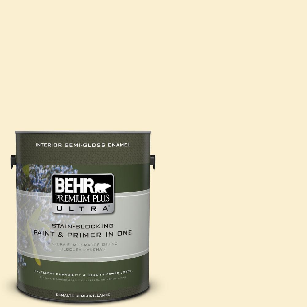 1 gal. #370C-2 Custard Cream Semi-Gloss Enamel Interior Paint and Primer