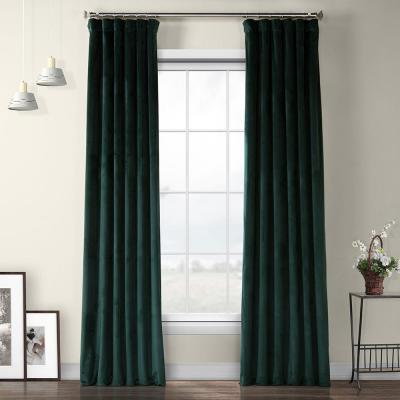 Forestry Green Heritage Plush Velvet Curtain - 50 in. W x 108 in. L