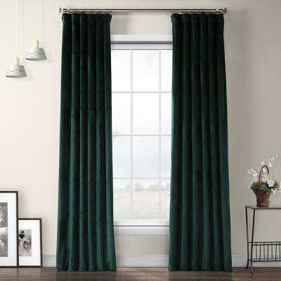 Forestry Green Heritage Plush Velvet Curtain - 50 in. W x 96 in. L