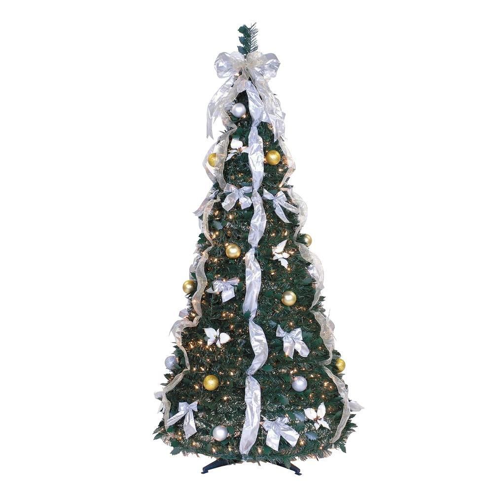 6 Ft Pre Lit Pop Up Artificial Christmas Tree With Ornaments