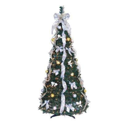 6 ft. Pre-Lit Pop-Up Artificial Christmas Tree with Ornaments