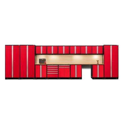 Pro 3 Series 85 in. H x 276 in. W x 24 in. D 18-Gauge Welded Steel Bamboo Worktop Cabinet Set in Red (16-Piece)