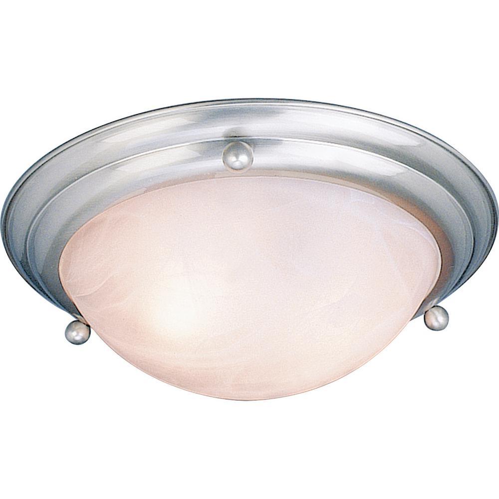 Lunar 2-Light Indoor Brushed Nickel Flush Mount Ceiling Fixture with Alabaster Glass Bowl