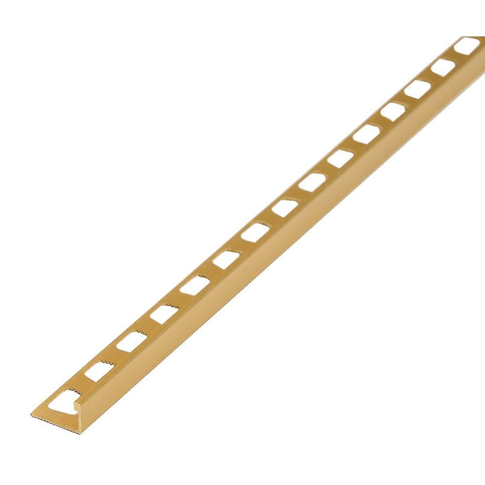Satin Brass 1-3/8 in. x 96 in. Aluminum Metal Edge Reducer Tile Edging Strip