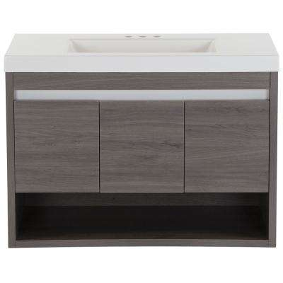 Wilby 36.5 in. W x 18.9 in. D Vanity in Dark Oak with Cultured Marble Vanity Top in White with White Basin