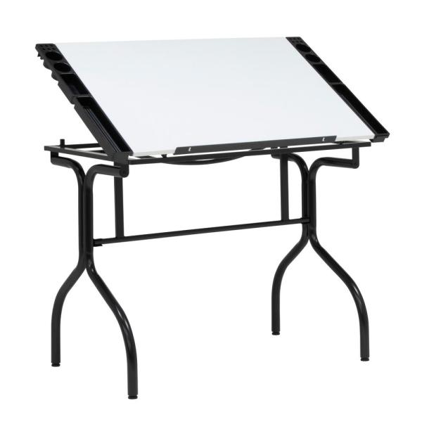 35.25 in. W PB Craft Table with Folding Legs and Art Supplies Trays, no Tools Required for Assembly, Black/White