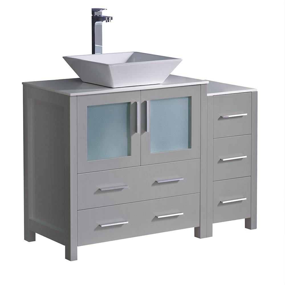 Fresca Torino 42 in. Bath Vanity in Gray with Glass Stone Vanity Top in White with White Vessel Sink and Side Cabinet
