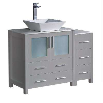 Torino 42 in. Bath Vanity in Gray with Glass Stone Vanity Top in White with White Vessel Sink and Side Cabinet