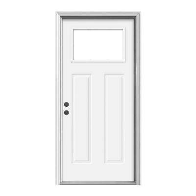 36 in. x 80 in. 1 Lite Craftsman White Painted Steel Prehung Right-Hand Inswing Front Door w/Brickmould