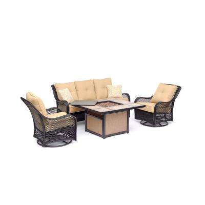 Orleans 4-Piece All-Weather Wicker Patio Fire Pit Conversation Set with Sahara Sand Cushions and Table