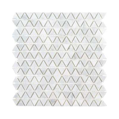 Evelyn White 11.125 in. x 11.375 in. x 8 mm Geometric Polished Marble Mosaic Tile