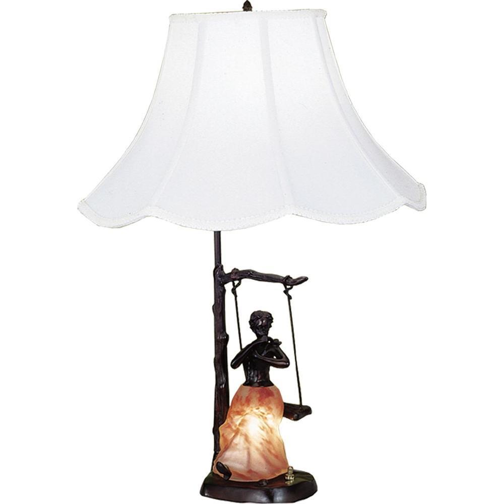Illumine 2 Light Silhoutte Lady on Swing Accent Lamp Fabric Glass