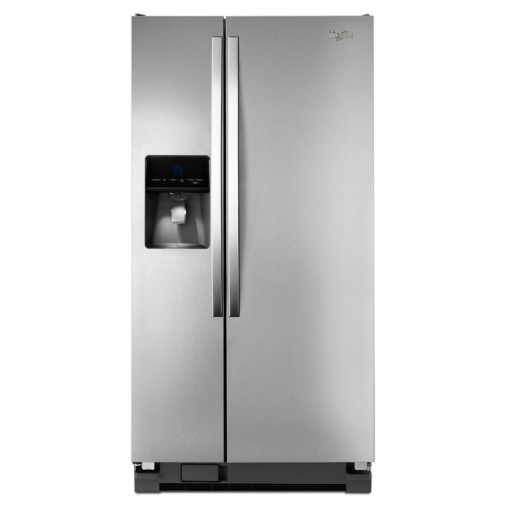 Whirlpool 33 In W 21 3 Cu Ft Side By Side Refrigerator