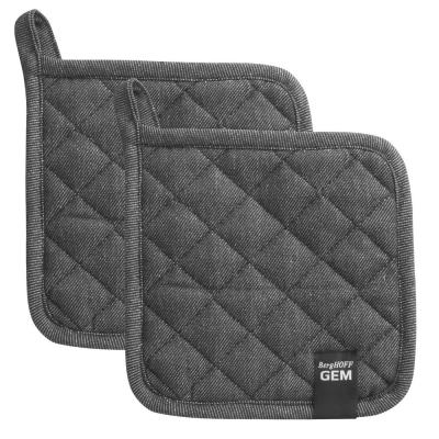 Gem Black Cotton Potholder Set (2x)