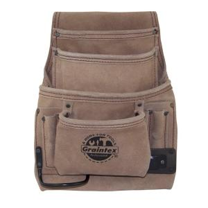 10 Pocket Nail and Tool Pouch with Suede leather