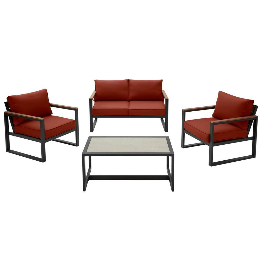 West Park Black Aluminum Outdoor Patio 4-Piece Conversation Set with Sunbrella Henna Red Cushions