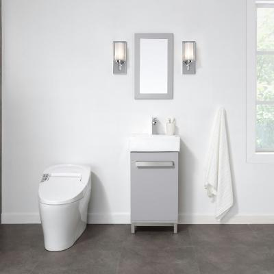 Maelynn 18 in. W x 12 in. D Vanity in Dove Grey with Ceramic Vanity Top in White with White Sink and Mirror