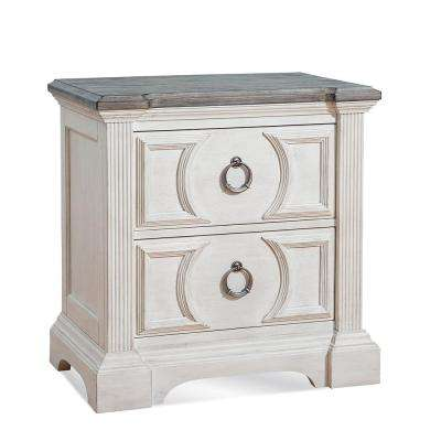 Brighten 2-Drawer Charcoal and Antique White Nightstand