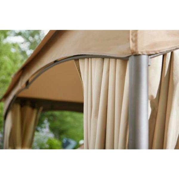 Hampton Bay 10 Ft X 12 Ft Turnberry Outdoor Patio Gazebo With Mosquito Netting And Private Curtain L Gz933pco L The Home Depot