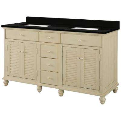 Cottage 61 in. W x 22 in. D Vanity in Antique White with Granite Vanity Top in Midnight Black with Trough White Basin