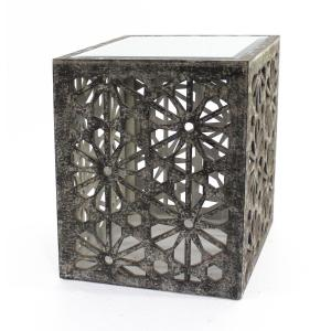 Grey Wood End Table with Mirror by