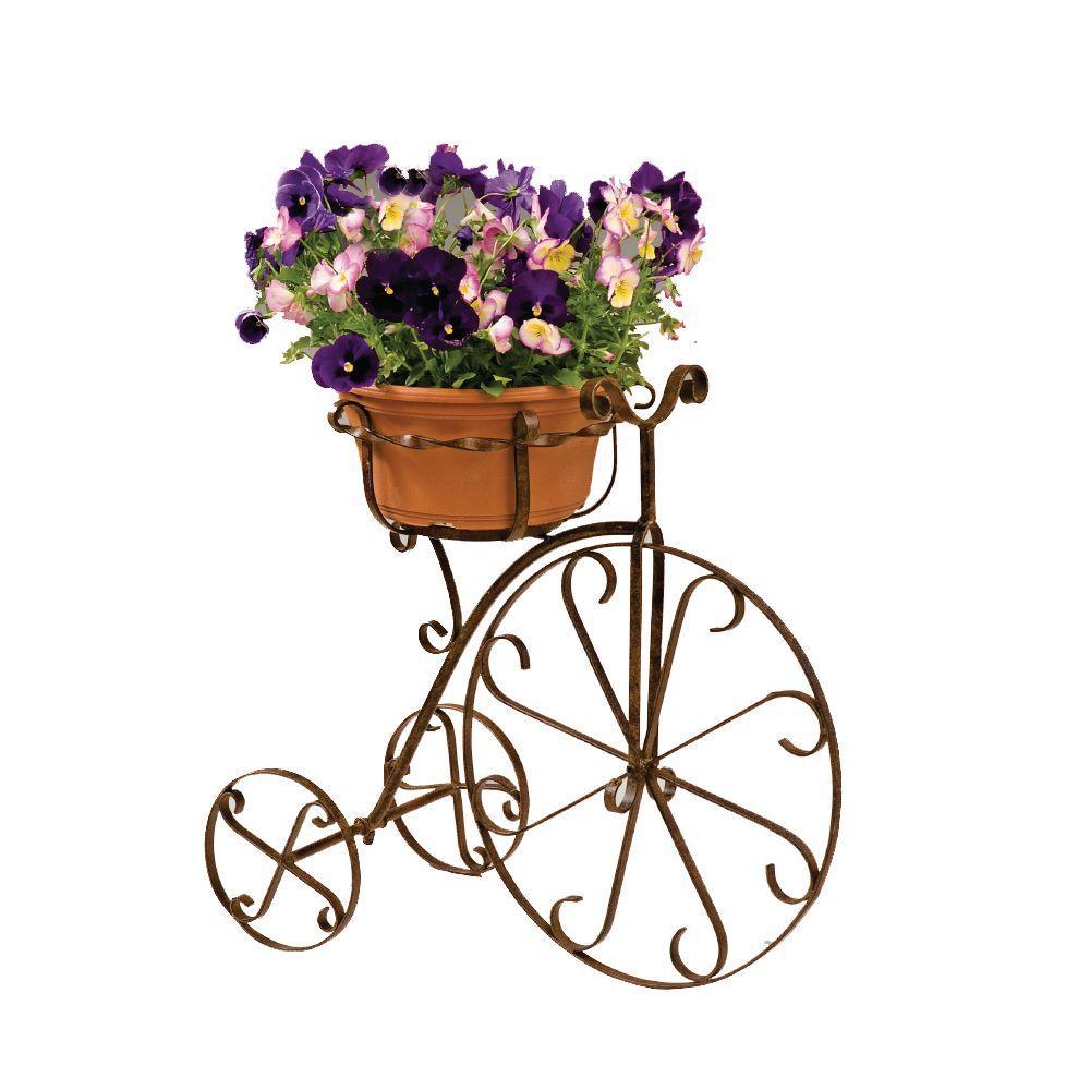 Metal Bike Planter 10 in. Pot Holder