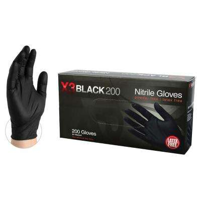 BX3D Black Nitrile Industrial Powder-Free Disposable Gloves (200-Count) - Medium