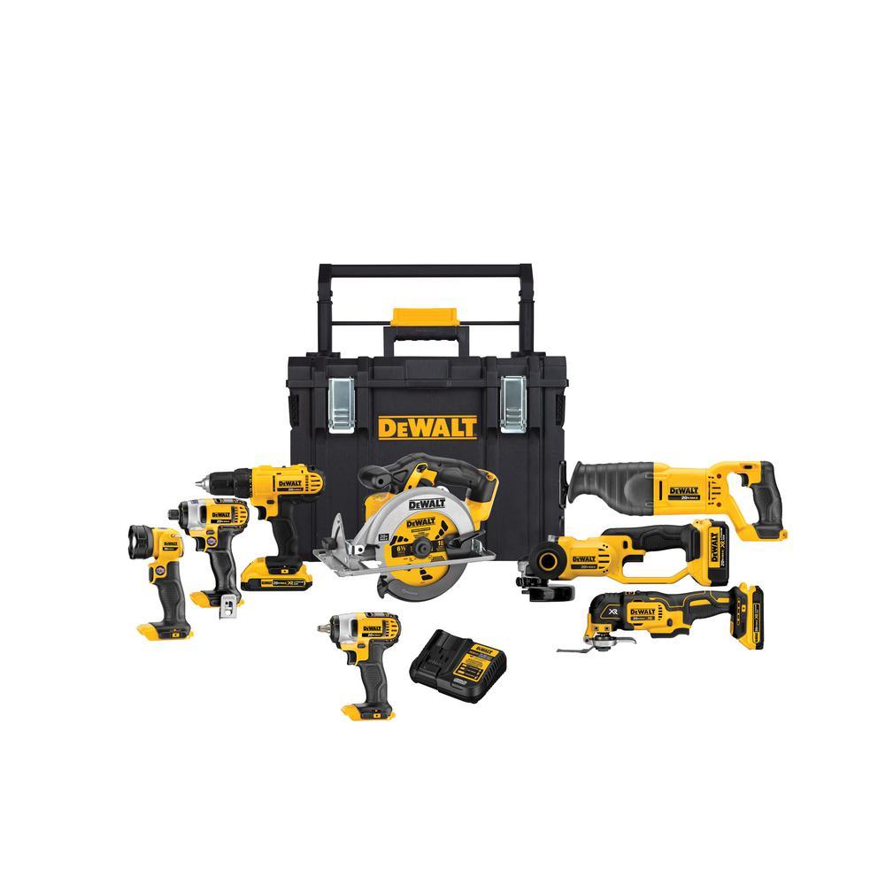 DEWALT 20-Volt MAX Lithium-Ion Cordless Combo Kit (8-Tool) w/(2) 2Ah and (1) 4Ah 20-Volt MAX Batteries and ToughSystem Box