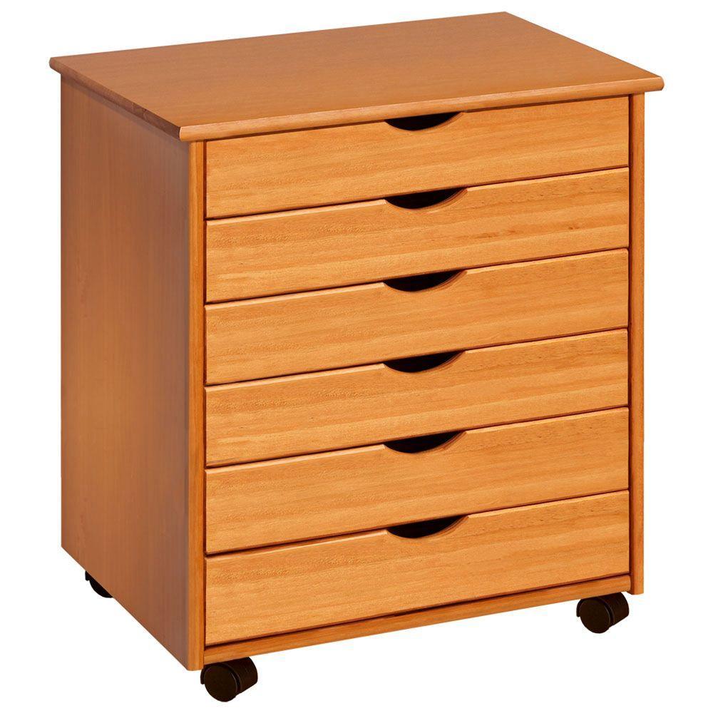 Pine Mobile File Cabinet