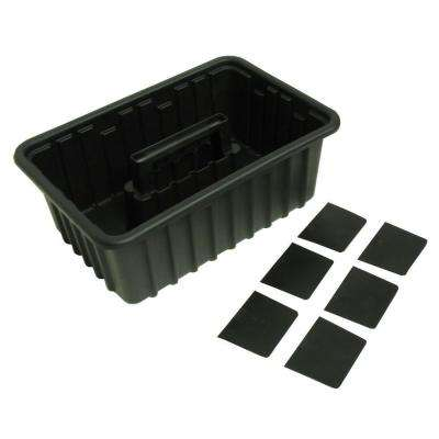 2-Compartment Stackable Tot Small Parts Organizer in Black