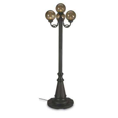 European Park Style Four Bronze Globe Plug-In Outdoor Black Lantern Patio